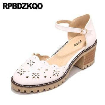 Japanese 2018 Size 4 34 Chic Chunky Cute Gray Kawaii Sweet Lolita Shoes White Round Toe Ladies Ankle Strap Medium Heels Pumps