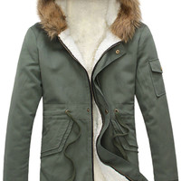Fur-Collar Hooded Coat