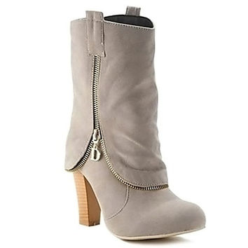 Zippered Short Boots With Chunky Heel and Slip-On Design