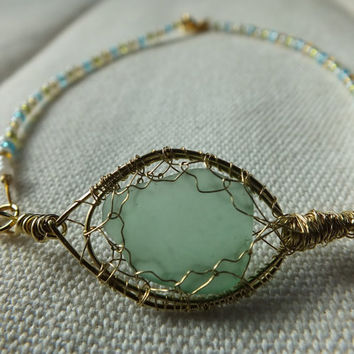 Wire Wrapped Aquamarine Sea Glass and Beaded Bracelet Intricate Artistic Design for large wrist or anklet