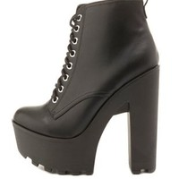 Lug-Soled Chunky Heel Combat Booties by Charlotte Russe - Black