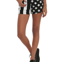 Royal Bones By Tripp Black & White Stripes & Stars Shorts
