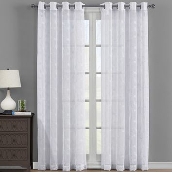 White Brook Embroidered Grommet Top Sheer Panel Curtain Set - Pair (Two Panels )