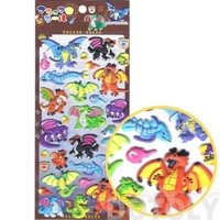 Colorful Fire Breathing Dragons Shaped Mythical Beasts Themed Puffy Stickers for Scrapbooking