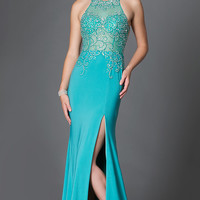 Sheer Bodice Long Jersey Prom Dress