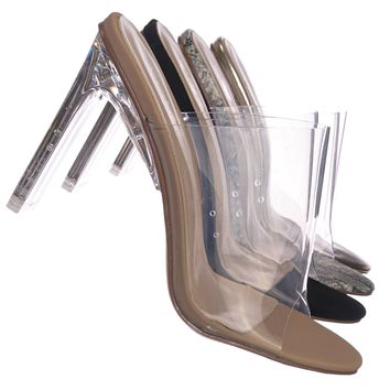 Thalia4 Barely These Clear Chunky Flat Block Heel - Lucite Mule Slide Sandal