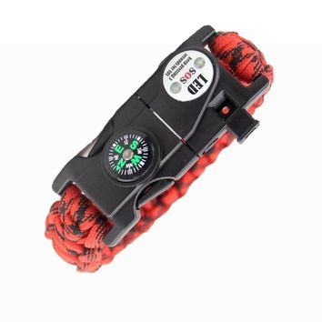EMAK New 17 in 1 Camping Paracord Rope Multifunctional LED lights Survival Whistle Compass Bracelet EDC Tool Free shipping Z520