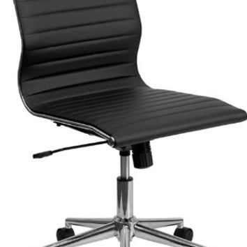 Mid-Back Armless Black Ribbed Upholstered Leather Swivel Conference Chair