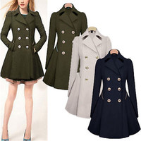 S-XXL Womens Lapel Wool Windbreaker Csaual Long Parka Coat Trench Outwear Jacket