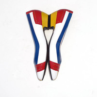 80s Vintage Selby Flats 7 B Color Blocked Leather by BlueRoseRetro