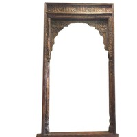 Antique Arch Columns Haveli Entrance Gate Huge Archway Hand Carved Sun Medallion