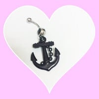Black anchor belly button ring