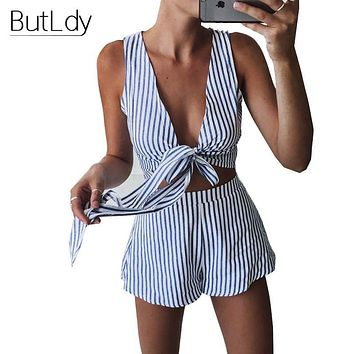 Women Two Piece Outfits Striped Short Pant Jumpsuit Romper Casual Sexy V Neck Playsuit Summer Pantsuit Bodysuit Overall Coverall