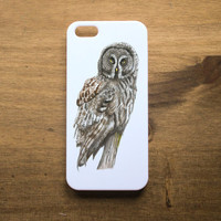 Beautiful Illustrated Great Grey Owl Portrait on White Hard Plastic iPhone 4 4s 5 5s Case