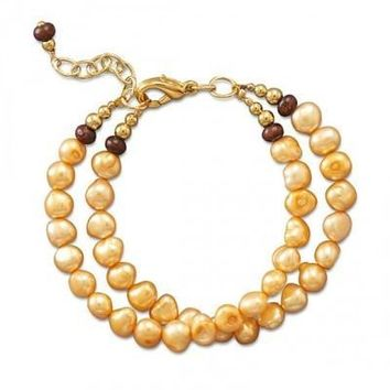 Double Strand Bracelet with Cultured Freshwater Pearls, Wood, and Gold Tone Beads