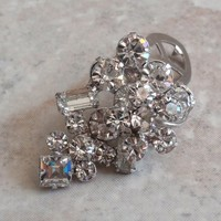 Rhinestone Dress Clip Silver Tone Prong Set Stacked Floral Vintage