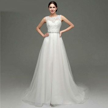Lace Appliques Scoop Neck A-line Tulle Wedding Dresses Sequins Beading Crystals Sash Zipper Back Wedding Gown
