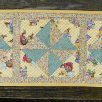 Quilted Table Runner Easter Decorations Long Table Runner Hand Quilted Handmade Yellow Table Runner Rabbit Bunnies Easter Eggs Green