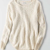 AEO Hi-Low Textured Sweater , Cream