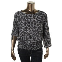 MICHAEL Michael Kors Womens Printed Boatneck Pullover Top