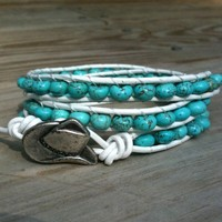 Summer Cowgirl - white leather 3-wrap bracelet turquoise howlite beads | TOWNOFBEADROCK - Jewelry on ArtFire