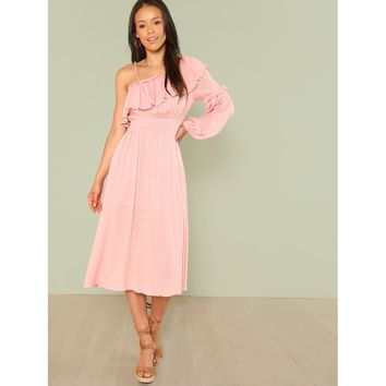 Asymmetrical Neck Flounce Sleeve Shirred Waist Dress