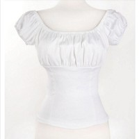 Fashion Women White Rockabilly Pinup Peasant Tops Off Shoulder Blouse Sexy Shirt