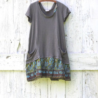 Eco friendly gray day dress , upcycled funky size Large summer dress one of a kind indie fashion recycled repurposed clothes by wearlovenow