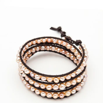 Wrap Bracelet - Dark Brown Leather Cord | Pink Fresh Water Pearls