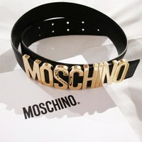 MOSCHINO Stylish Women Men Chic Letter Belt Candy Color Belt Black