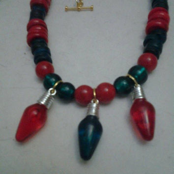 Cyber Monday Black Friday Christmas Jewelry-Red and Green Wood Beads Handmade Jewelry-Unique Jewelry-  Wooden Beads Necklace-Trendy Necklace