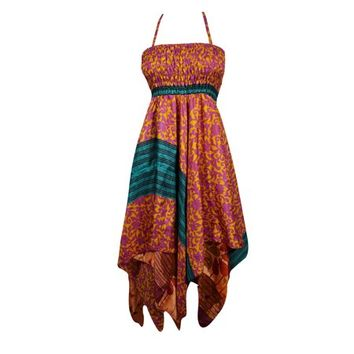 Mogul Womens Handkerchief Hem Two Layer Printed Sundress Summer Fashion Gypsy Hippie Chic Boho Halter Dress - Walmart.com