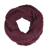 Diamond Stitch Snood - Burgundy