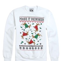 Riot Society Make It Reindeer Crew Fleece - Mens Hoodie - White