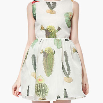 White Cactus Print Sleeveless Skater Skirt