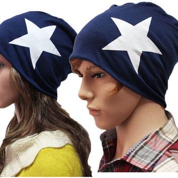 2016 New fashion cotton hat Five-pointed star Male and Female knit hat Popular thin All-match caps Skullies Beanies