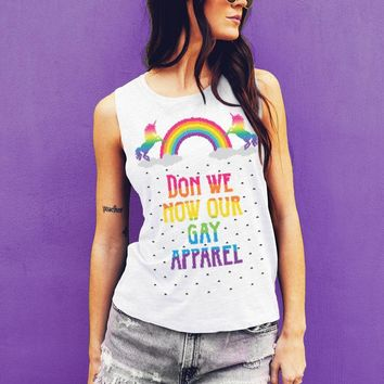 Don We Now Our Gay Apparel Muscle Tee, Christmas Holiday Gay Pride Muscle Tank for Women
