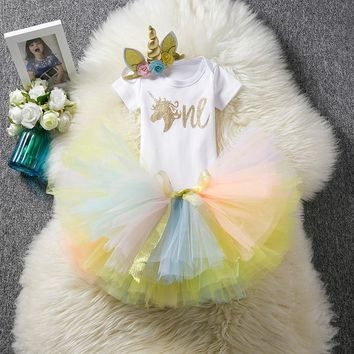 New Born Baby Girl 1 Year Birthday Unicorn Clothes Dress Outfits Cotton Princess Baptism Pink Christening Christmas Dresses 12M