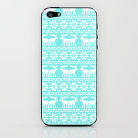 Ugly Christmas Sweater Moose Pattern Blue iPhone & iPod Skin by Rex Lambo | Society6