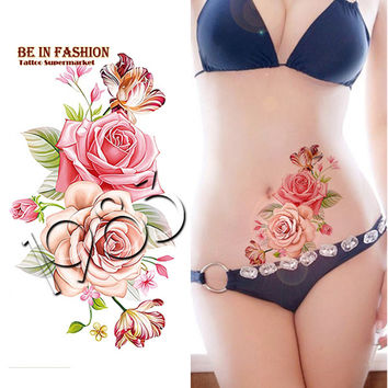 1piece Indian Arabic Fake temporary tattoos stickers rose flowers arm shoulder tattoo waterproof ledy women big on body QS-C056