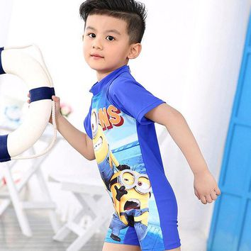 DCCKHG7 2017 New swimwear boys hooded short-sleeve cartoon  Children piece swimsuit kids Swimming suit Beach Swimwear