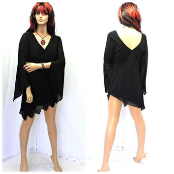 Vintage 80s gothic black cocktail dress S / M black beaded witch vampires goth mini dress size 5 / 7 J.R. Nites SunnyBohoVintage