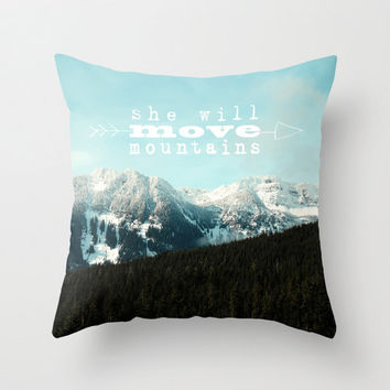 "photo pillow,mountains,18x18 or 22x22 cotton pillow ""She will move mountains"", typography,aqua home decor,landscape,quote,inspirational"