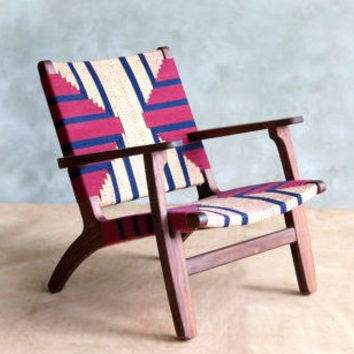 Mid Century Modern Armchair, Accent Chair, Lounger Chair, Walnut Frame, Handwoven Seat, Navy Burgundy,  Linear Pattern, Retro Modern Rustic