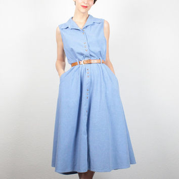 Vintage 80s Dress Blue Chambray Dress Midi Dress 1980s does 1950s Dress Shirt Dress Day Dress 1980s Dress Preppy Sundress M Medium L Large