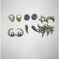 Alien Fairy Moon Earring 6 Pack - Spencer's