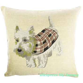 Retro Vintage West Highland Terrier Dog Pet Home Decorative Thick Knitted Cotton Linen Pillow Case Cushion Cover 18'' 45CM