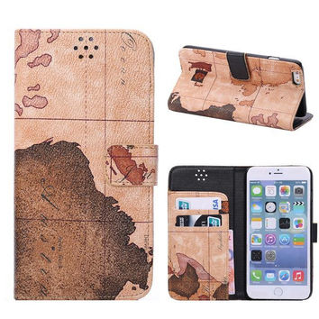 Brown World Map Leather Wallet iPhone Cases for 5S 6 6S Plus Free Shipping