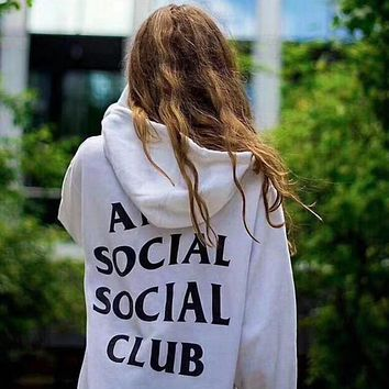 """Anti Social Social Club"" Popular Women Men Casual Letter Print Sport Long Sleeve Hooded Sweater Pullover Top White I12348-1"