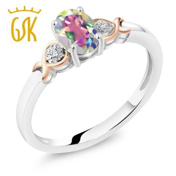 10K Rose Gold 925 Sterling Silver 0.80 Ct Mystic Topaz with Diamond Accents Ring